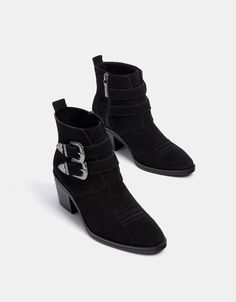 ac88ba92111c2 Leather cowboy ankle boots with buckles - Boots   Ankle boots - Bershka  Philippines