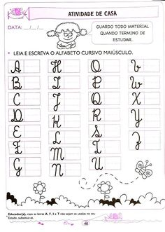 atividades de casa - 5 e 6 anos (40) Handwriting Worksheets, Homeschool, Language Activities, Worksheets For Kids, Kid Exercise, Learn Calligraphy, Spanish Classroom, Cursive Letters, Letter L
