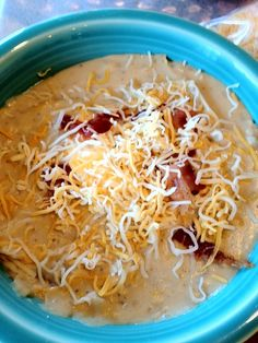 Crock Pot Loaded Baked Potato Soup    You will need:    5 lbs russet potatoes, diced, NOT peeled  5 tablespoons TS garlic garlic  1 large yellow onion, chopped  64 ounces chicken broth or stock  16 ounces cream cheese  bacon, sour cream, chives or shredded cheese for garnish  Combine first 4 ingredients in your crock pot, cook on low for 8 hours or