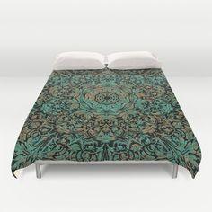 Vintage Copper Floral Patina Duvet Cover by Blooming Vine Design - $99.00