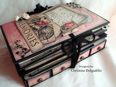 love the drawers Christine's Class Kits: Romance Novel Mini Album Album Photo Scrap, Mini Albums Scrap, Mini Scrapbook Albums, Scrapbooking Original, Tutorial Scrapbook, Altered Boxes, Altered Art, Scrapbook Journal, Album Book
