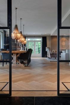 Living room design with herringbone floor Interior Architecture, Interior And Exterior, Interior Design, Home Living Room, Living Room Designs, Living Spaces, Sweet Home, New Homes, House Styles