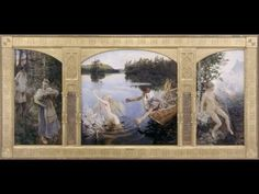 Akseli Gallen-Kallela, The Aino Triptych oil on canvas, 154 x 77 cm (outer pair) and 154 x 154 cm (centre), Ateneum, Helsinki. Triptych Art, Academic Art, Art Database, Religious Art, Medium Art, Art Techniques, Helsinki, Art Google, Mythology