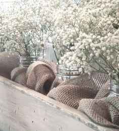 Hydrangea Home by Dawn's Designs: Baby's Breath in burlap wrapped mason jars