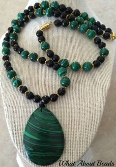 Malachite Beaded Set Necklace Bracelet and by WhatAboutBeads