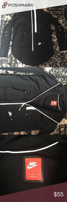 Nike Tech Fleece Jacket Women's Nike Tech Fleece Jacket Size Large Color Black w White stitching, brand new never worn, cape style - short in front, long in back (covers butt) Nike Jackets & Coats