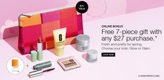 Spring gift from Clinique.com - yours with $27 purchase. http://cliniquebonus.org/clinique-bonus-time/