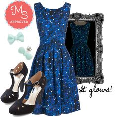 In this outfit; Just Be Cosmic Dress, Dynamic Debut Heel, You Bow What I Mint Earring #glow #cosmic #galaxy