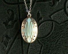 Antique Sterling Vinaigrette Perfume Locket Pendant Necklace . Pale Mint Green Enamel .