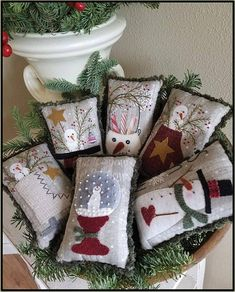 """Primitive Folk Art Wool Applique Pattern: """"SNOW DAYS Bowl Fillers"""" - Preprinted fabric background included with pattern! Christmas Bowl, Mini Christmas Tree, Christmas Crafts, Christmas Ornaments, Christmas Sewing, Christmas Pillow, Christmas Stuff, Christmas Christmas, Christmas Presents"""