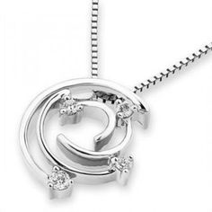 18K White Gold Swirl Four Stones Pendant Round Diamonds (FREE 925 Silver Box Chain)