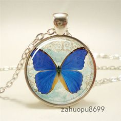 Vintage-new-butterfly-Gift-Cabochon-Silver-plated-Glass-Chain-Pendant-Necklace