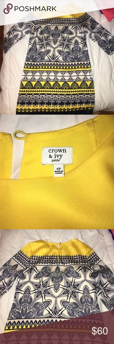 Crown & Ivy 4P quarter sleeve dress Crown & Ivy size 4P quarter sleeve dress. Lightly worn, lined, yellow and navy blue. Crown & Ivy Dresses