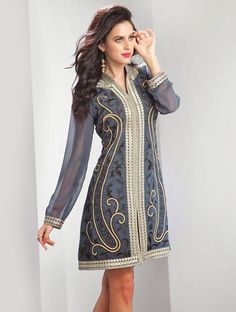 Fashion and style always depends on good color and fantastic combination of shades like this grey georgette designer kurti.