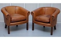Pair Of Aged Brown Leather Vintage Tub Armchairs Hand Dyed Gentlemans Club Style   Vinterior