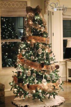 Christmas Tree Decorating with burlap ribbon.