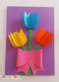 Mothers Day Crafts For Kids, Paper Crafts For Kids, Mothers Day Cards, Diy And Crafts, Teacher Inspiration, Birthday Woman, Diy Flowers, Flower Diy, Marvel