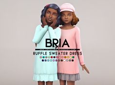 Bria Ruffle Sweater Dress Download Over Here | Info Below  [[MORE]]A cute simple outfit for your little girls. It fits in well with the autumn weather. There are a total of 25 swatches and all lods are included. It's just a simple frankenmesh edit of...
