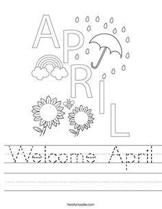 Welcome April Worksheet - Twisty Noodle Easter Worksheets, Kindergarten Worksheets, Worksheets For Kids, School Calendar, Kids Calendar, English Activities, Art Activities, Calendar Doodles, Transportation Worksheet