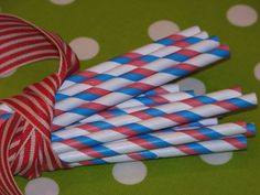 Paper Straws Red White Blue Striped - Party Supplies and wholesale manufacturer of printed paper straws, Favor Bags and other modern trendy paper party goods