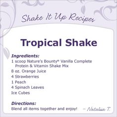 Tropical smoothie recipe, perfect for summertime!