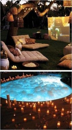 But swap the pool for a hot tub. Because I don't want to drown. But swap the pool for a hot tub. Because I don't want to drown. Sleepover Room, Fun Sleepover Ideas, Summer Bucket, Summer Fun, Summer Vibes, Summer Pool Party, Summer Nights, Backyard Movie Nights, Outdoor Movie Nights
