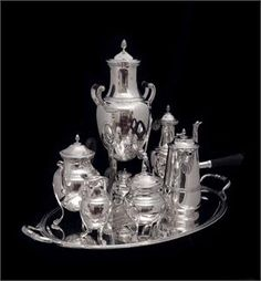 7pc. PUIFORCAT ANTIQUE STERLING SILVER TEA / COFFEE SET WITH STERLING SILVER TRAY !!    Price: $59,999.00