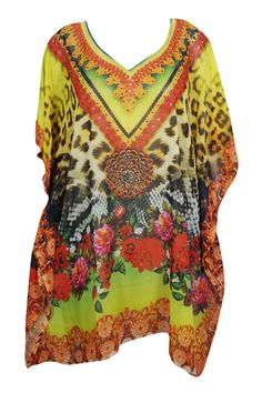 57affafea8da3 Mogul Interior - Mogul Womens Jewel Print Short Caftan Sheer Georgette  Kimono Sleeves Sexy Beach Wear Resort Fashion Bikini Cover Up Dress -  Walmart.com