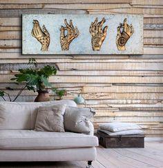 cuadros para sofas originales delier ESTUDIO DELIER | cuadro plateado manos henna