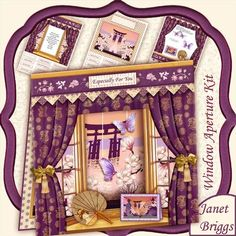 VIEW OF THE ORIENT WINDOW APERTURE 8x8 Mini Kit on Craftsuprint designed by Janet Briggs - 3 sheet window aperture mini kit, which creates a quick and easy tent card, with central aperture through which the insert, with an oriental view, magnolia and pagoda, can be seen. Finished card is approx 8x8Includes optional decoupage embellishments, including bows, oriental fan, card and butterflies to dress the window. You may wish to use your own ribbons, bows, embellishments etc.The butterflies…