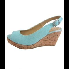 Mint Peep Toe Wedge Adjustable sling back heel.  Available in sizes 5.5, (2)7, (2)7.5, 8, & 9. Shoes Wedges
