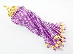 Long Sparkly Lilac Purple Beaded Tassel  22k Matte by LylaSupplies, $10.00