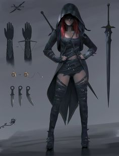 Burning Rose Design 2 by wlop Ghostblade comic Lenia female theif assassin rogue ranger fighter sword crossbow dagger cloak leather armor clothes clothing fashion player character npc Dnd Characters, Fantasy Characters, Female Characters, Dungeons And Dragons Characters, Character Concept, Character Art, Concept Art, Female Character Design, Half Elf