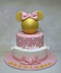 Gold Minnie Mouse - cake by Georgia Minnie Mouse Birthday Cakes, Custom Birthday Cakes, Minnie Mouse Theme, Minnie Mouse Baby Shower, Mickey Mouse Cake, Birthday Cake Girls, 2nd Birthday, Birthday Ideas, Torta Baby Shower