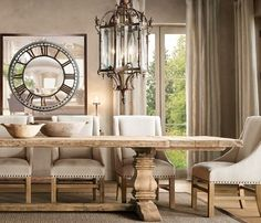 house. home. beige. dinning room. with beautiful natural wood tabe