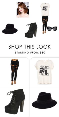 """Untitled #98"" by oops-ally on Polyvore featuring Breckelle's, Maison Michel, Karen Walker and Lanvin"