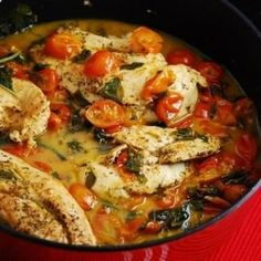 Tomato Basil Chicken - Tender chicken breasts cooked in a silky fresh tomato basil sauce, makes for one seriously delicious and healthy Low Carb and Weight Watchers dinner recipe. Its incredibly easy to prepare and is a dish the whole family will love.