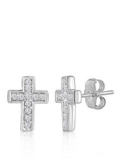 Belk  Co.  18 ct. t.w. Diamond Cross Earrings set in 10K White Gold