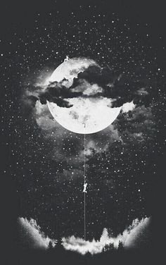 art, artsy, beautiful, black and white, drawing, dreaming, moon, sky, stars