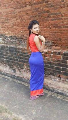 Exotic Women, Beautiful Asian Women, Beautiful Indian Actress, Beautiful Celebrities, Long Dress Fashion, Burmese Girls, Myanmar Women, Asian Woman