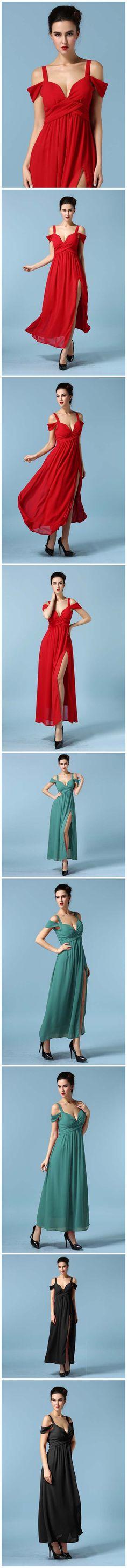 V Cut Chiffon Long Slit Dress