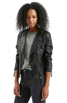 $90 - 4 US Topshop 'Polly' Faux Leather Biker Jacket