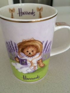 Harrods-Fine-Bone-China-MUG-Chelsea-Rebecca-Bear-Lavender-vintage-collectable