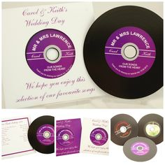 """Vinyl Record Style CD wedding favours. Record your favourite songs onto these recordable Cds which look just like original 7"""" vinyl records(they even have the grooves) or a compilation of love songs and give to your guests as wedding favours. Personalised label and printed cover in colours to match your scheme These 12cm CDs are suitable for use in all tray-loading or slot-loading CD or DVD burners. £3.50"""