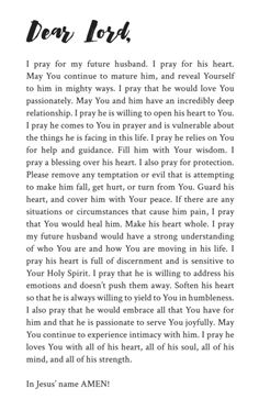 31 prayers for my future husband was written for single women who desire the intimacy of marriage women currently in a serious relationship and women who