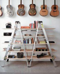 Ladder Bookcase-diy-ladder-shelves