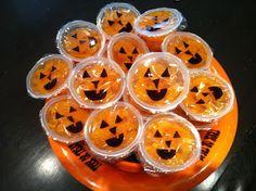 Mandarin orange cups - draw jack-o-lantern faces on them
