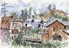 Image result for Watercolor Houses Church cities