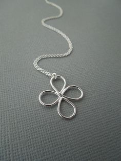 flower pendant sterling silver simple four leaf by greygoosegifts