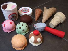 Felt Play Food Pattern Ice Cream Set PDF DIY por sweetemmajean